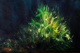 color oil painting green plant on dark blue background painting by