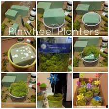 pinwheel planters for a garden themed baby shower college mom
