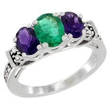 emerald amethyst rings images Worldjewels 10k white gold natural emerald amethyst ring 3 jpeg