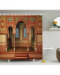 Vintage Style Shower Curtain Damask Shower Curtain Vintage Retro Arabesque Print For Bathroom