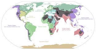 Oceans Map Map Showing The Drainage Basins For The Major Oceans And Seas