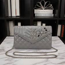 Monogram Charms Laurent Monogram Charm Embellished Chain Wallet In Mixed Matelasse