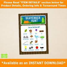 camping scavenger hunt printable scavenger hunt card