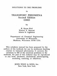 transport phenomena 2nd ed 2002 solutions manual