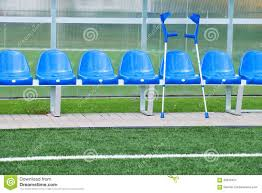 New Paint by New Blue Plastic Seats On Outdoor Stadium Players Bench Chairs
