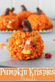 Kid Halloween Snacks Easy Pumpkin Krispies Treats Yummy Healthy Easy