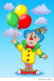 clown baloons illustration of clown with balloons on blue sky