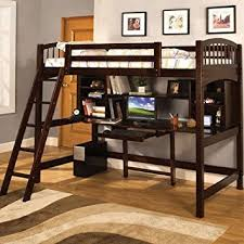 amazon com alexis twin loft bed with desk and bookshelves