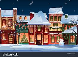 Winter Houses Winter Landscapechristmas Background Fairy Tale Houses Stock