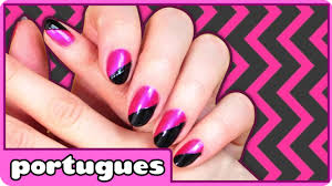 nail art designs step by step retro black and pink nails em