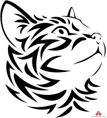 tribal tattoo design of cat looking up free clipart design download