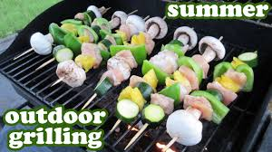 cuisine outdoor grilled veggie kabobs barbeque grill chicken recipe outdoor gas