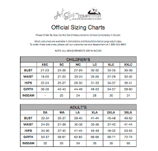 curtain call costumes size chart costume vendor size charts relevé dance centre