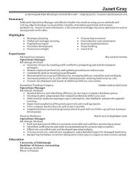 resume format administration manager job profile description for resume best operations manager resume exle livecareer