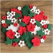 Christmas Cake Decorations Flowers 24 handmade edible sugar reindeer christmas cupcake decorations