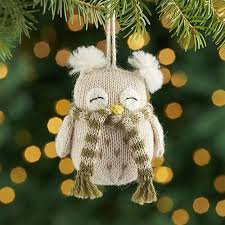 alpaca owl ornament with scarf crate and barrel