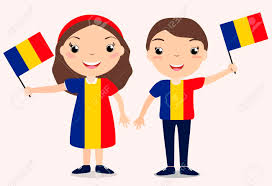 Holding The Flag Smiling Chilldren Boy And Holding A Romania Flag Isolated