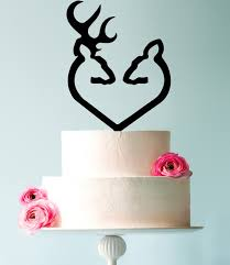 buck and doe cake topper traditional buck and doe heart wedding cake topper by cfweddings