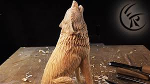 wood carvings woodcarving howling wolf timelapse