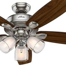 Remote Ceiling Fan With Light Hunter 52 Inch Brushed Nickel Ceiling Fan With Dual Glass Light