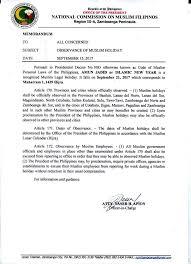 walangpasok september 21 2017 declared muslim the