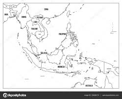 asia map with labels south east asia political map black outline on white background