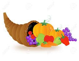 illustration of basket of vegetables and fruits thanksgiving