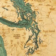 Seattle Premium Outlet Map by Sea Laser Cut Marine Chart 25w 31h By Thos Baker