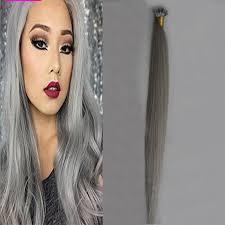 grey hair extensions hot grey keratin hair extension 18 20 22 24 100g pre bonded hair