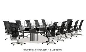 Boardroom Meeting Table Business Large Meeting Conference Table Chairs Stock Illustration
