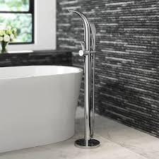 ibathuk designer freestanding bath filler mixer tap chrome hand