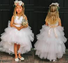 high low flower girls dresses for weddings jewel layers tulle sash