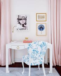 pink girl room with white desk