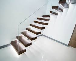 the walnut treads floating staircase with led lights