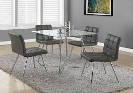 Fabric Dining Chair Low Back Armrests Amazon Com Monarch Specialties Grey Leather Look Chrome Metal 2