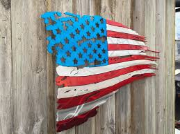 Custom Flag Maker Tattered And Torn American Flag Metal Art Advanced Metal Art