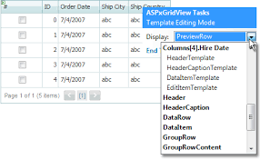 creating templates data grid view asp net controls and mvc