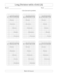 6 digit by 2 digit long division with grid assistance and prompts