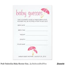 baby shower guessing pink umbrellas baby shower guessing 5x7 paper invitation card