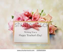s day roses happy teachers day message pink roses stock photo 190606964