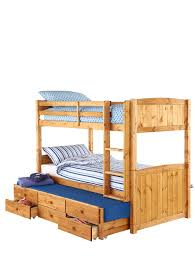 georgie solid pine bunk bed frame with storage and guest bed