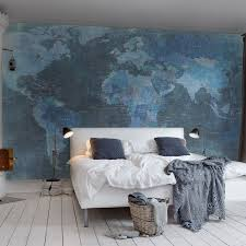 Map Wallpaper World Map Wallpaper Mural 405x270cm Blue Wallpaper Walls And Fans