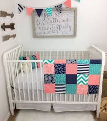 Navy And Coral Crib Bedding Baby Blanket Minky Blanket Coral Crib Bedding Decor Coral
