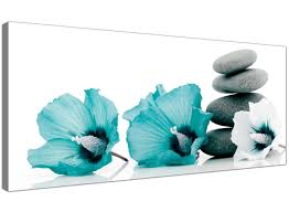 turquoise flowers large canvas pictures of teal flowers and grey pebbles turquoise