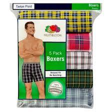 fruit of the loom s boxers 5 pack tartan plaid target