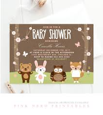 woodland baby shower invitation forest animals baby shower