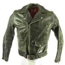 leather motorcycle jacket vintage 50s horsehide leather biker jacket mens xs marlon brando