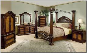 Kingsize Bed Frames Varnished Brown Wooden Canopy Bed With Curving Back Combined With
