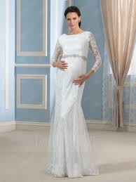 wedding dresses maternity scoop neck beading sleeves lace mermaid maternity