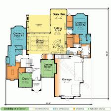 baby nursery one story house plans with two master suites
